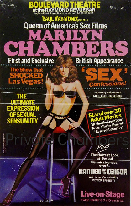Poster for Sex Confessions, the UK version of Marilyn Chambers' one-woman show, 1979