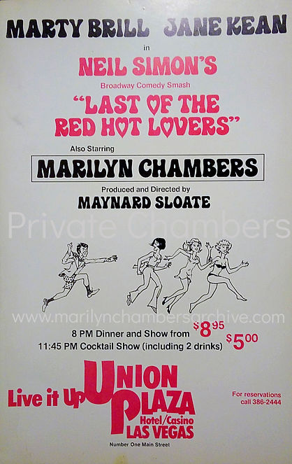 Rare hotel lobby poster for Last of the Red Hot Lovers starring Marilyn Chambers at the Union Plaza