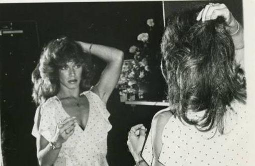 Marilyn Chambers prepares in her Vegas dressing room for Sex Surrogate, 1979