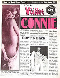 Vegas Visitor newspaper featuring Marilyn Chambers on the cover, 1977