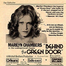 Newspaper advertisement for Behind the Green Door starring Marilyn Chambers