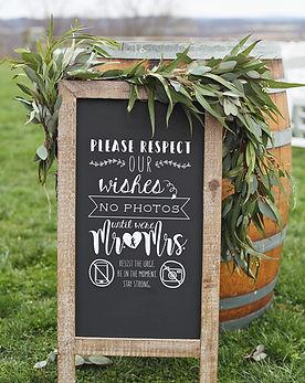 Wedding Sign, No Photos Sign