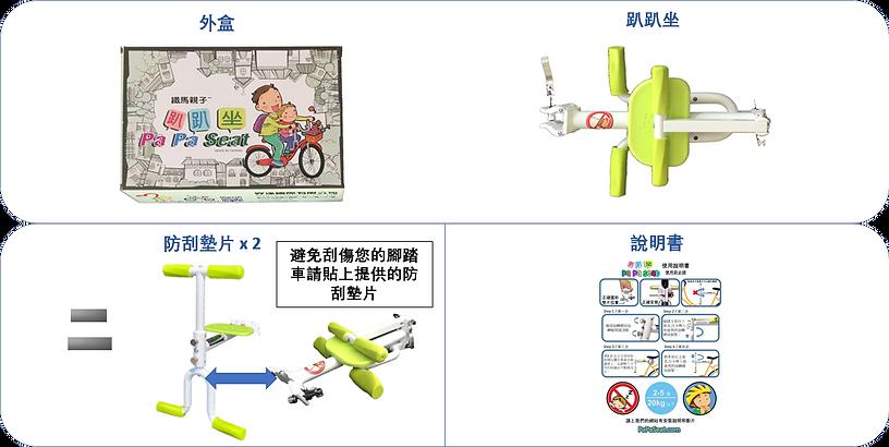 趴趴坐 PaPaSeat 腳踏車兒童座椅包裝內容