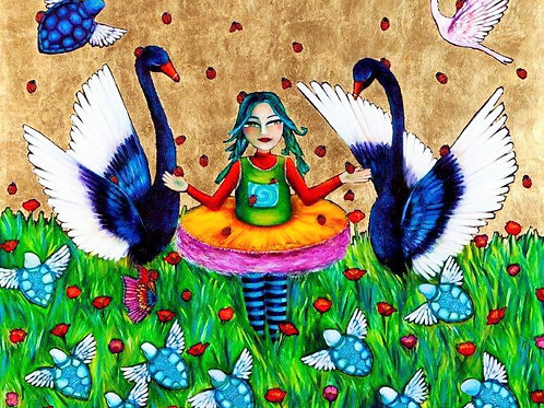 Limited Edition Print: Girl And Her Lady Bugs