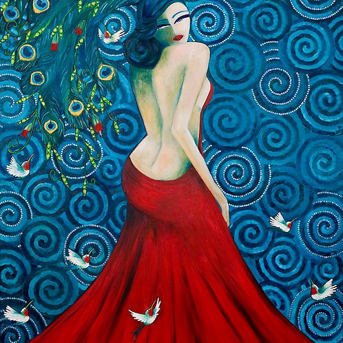 Limited Edition Print: Lady With Peacock Feather