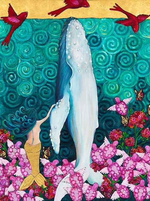 Limited Edition Print: A Whale and a Mermaid