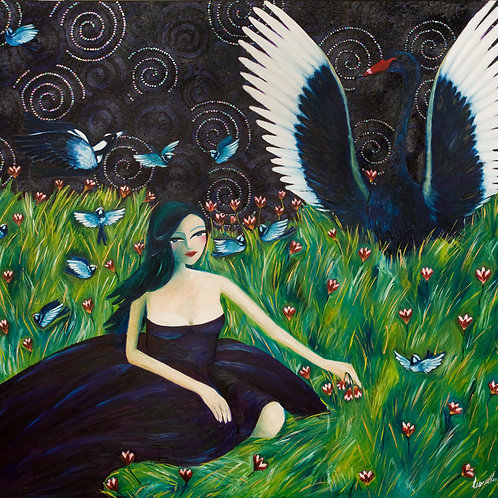 Limited Edition Print: Lady With A Swan