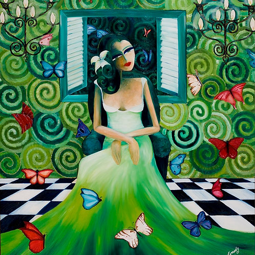 Limited Edition Print: Lady With Butterflies