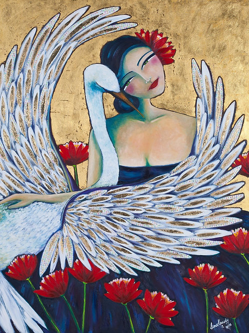 Limited Edition Print: Lady And An Egret