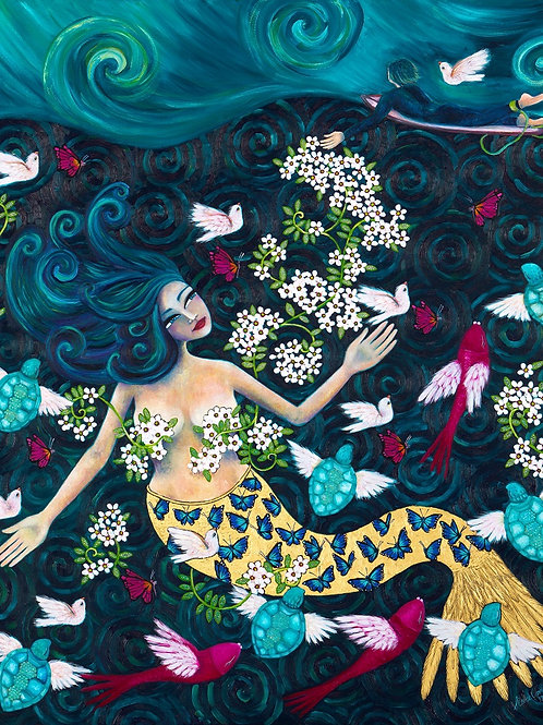 Limited Edition Print: Mermaid and A Surfer