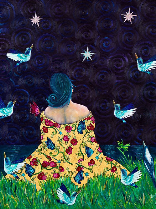 Limited Edition Print: Lady and The Kingfishers