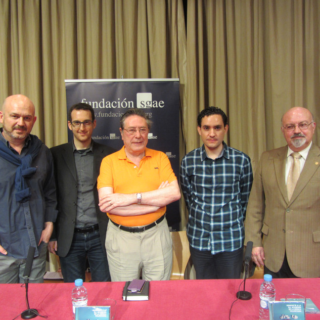 "(Left to right): Nacho Mañó, Alberto De Blas, Bernardo Adam Ferrero, Robert Ferrer and Roberto Loras Villalonga during the presentation of CD ""Homenaje a la M.I. Academia de la Música Valenciana"" in Fundación SGAE (Valencia), 2015."