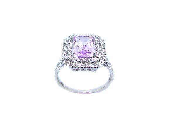 Anello kunzite diamanti