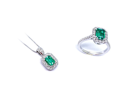 Ciondolo e Anello Smeraldo