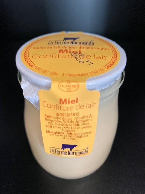Yaourt au lait entier de Normandie Miel confiture de lait