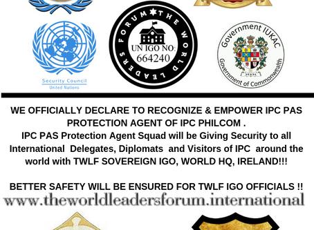 THE WORLD LEADERS FORUM (TWLF S~IGO) RECOGNIZES 'IPC PAS PROTECTION AGENT SQUAD' OF IPC PHILCOM !!!