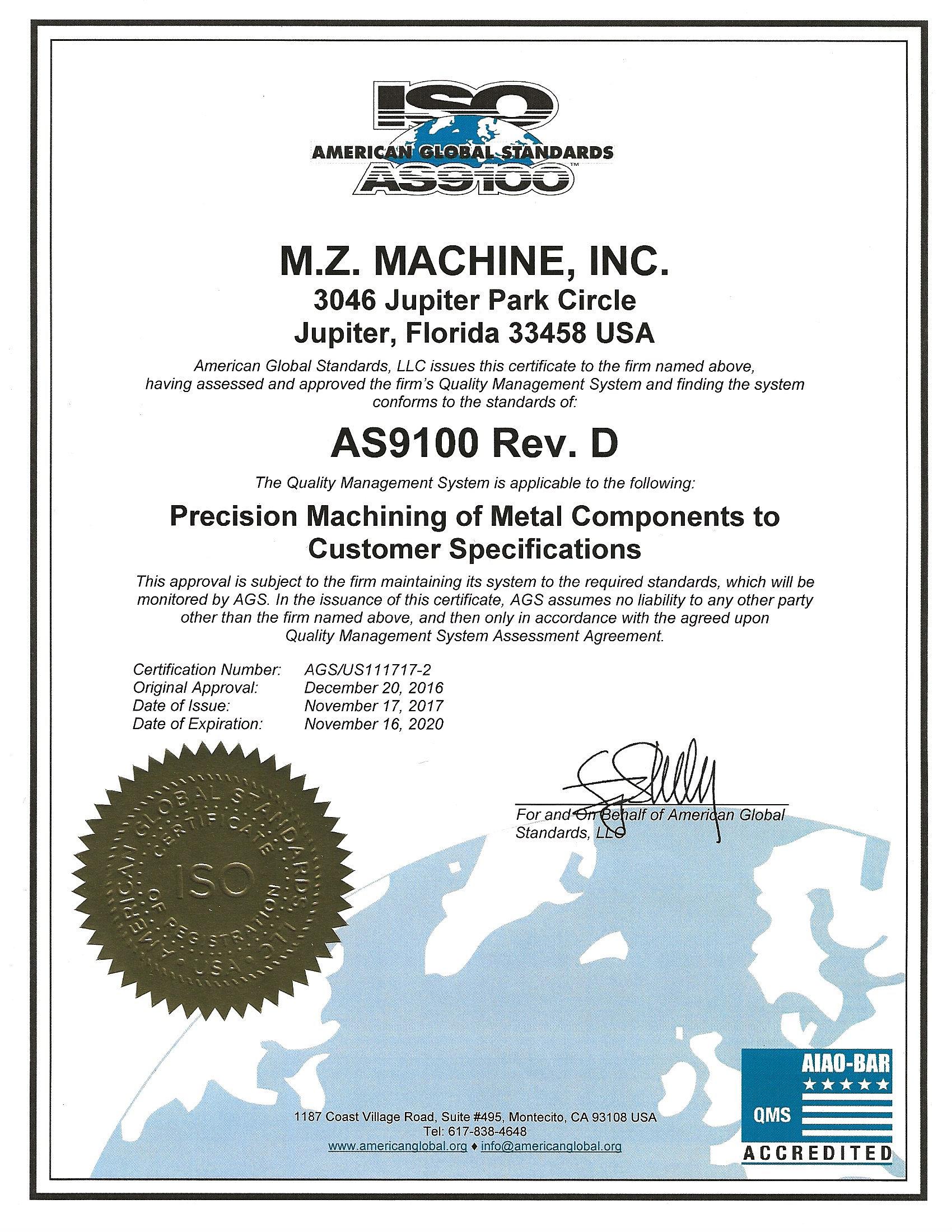 Cnc Machining Jupiter Mz Machine Inc