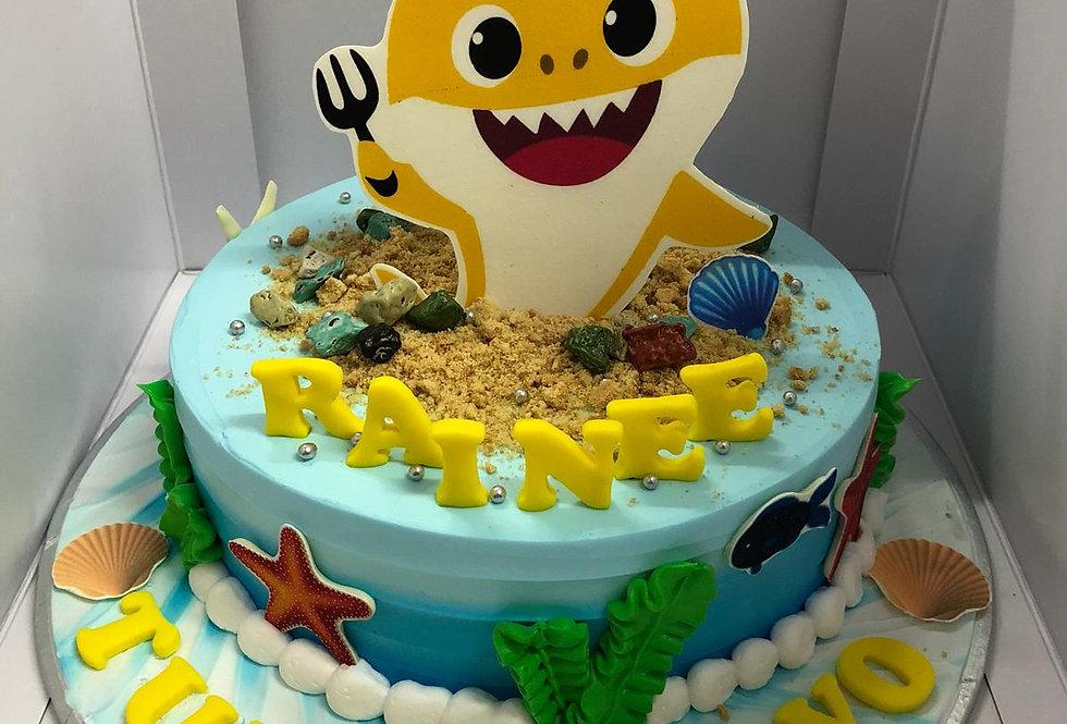 yellow baby shark cake