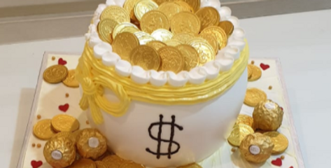 coin in a jar pulling cake