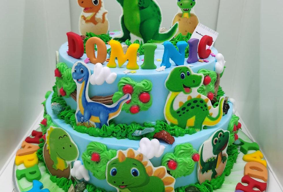 2 TIER CUTE DINOSAUR CAKE