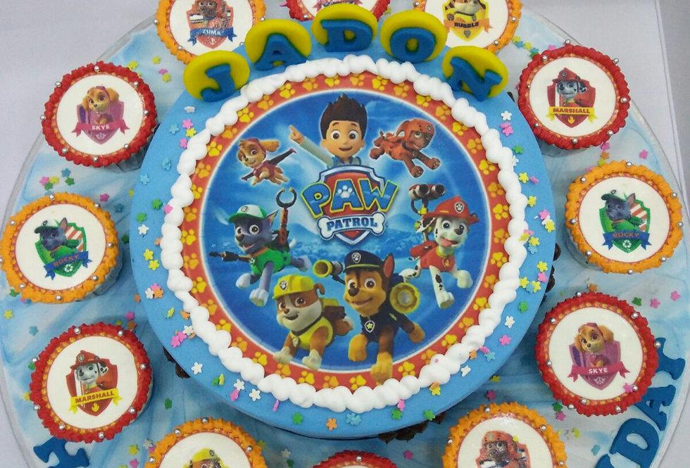 PAW PATROL CAKE WITH CUPCAKE