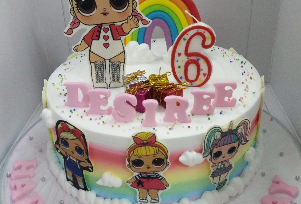 LOL rainbow cake
