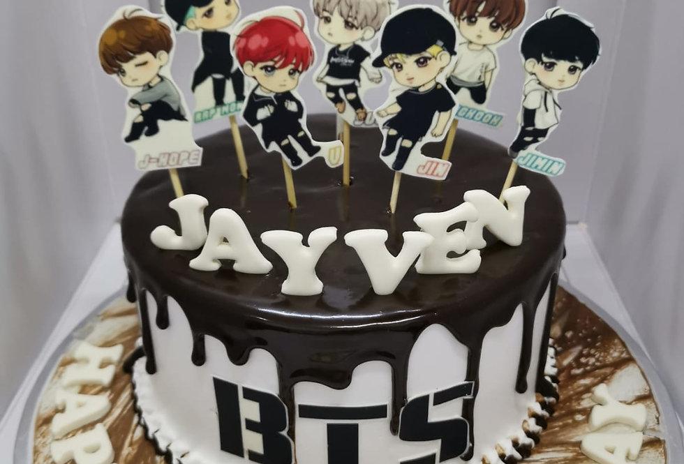 BTS cartoon cake