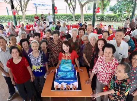 Fann Wong celebrates with Elderly
