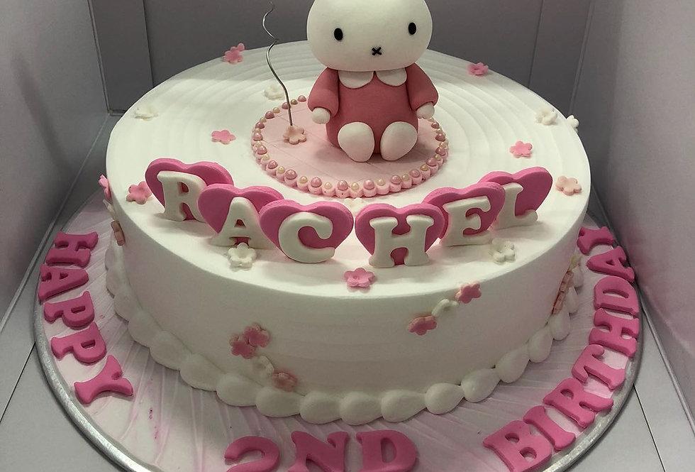 pinky fondant rabbit with fresh cream cake