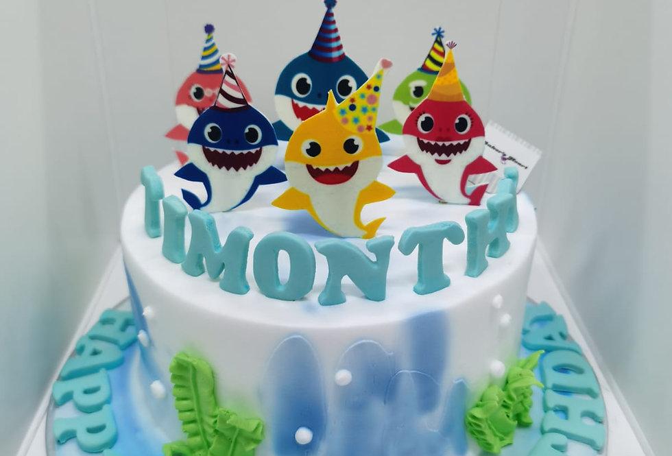 PARTYHAT BABYSHARK CAKE
