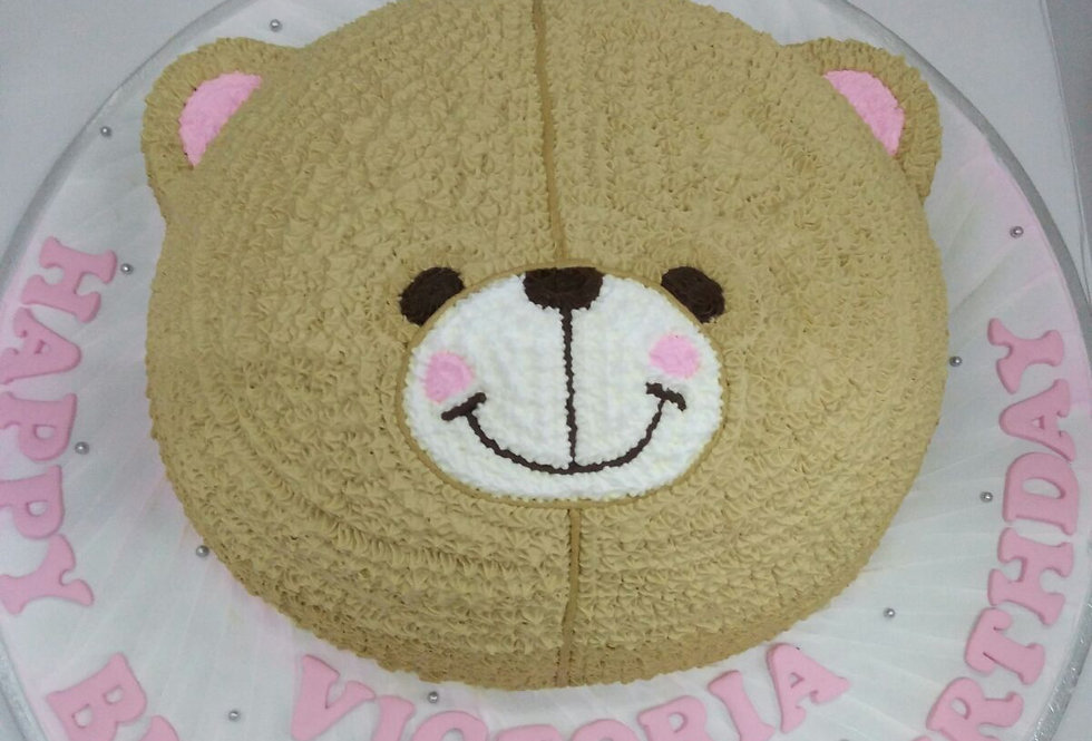 smiley bear face cake