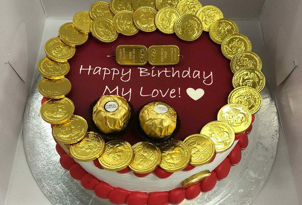 chocolate money pulling cake