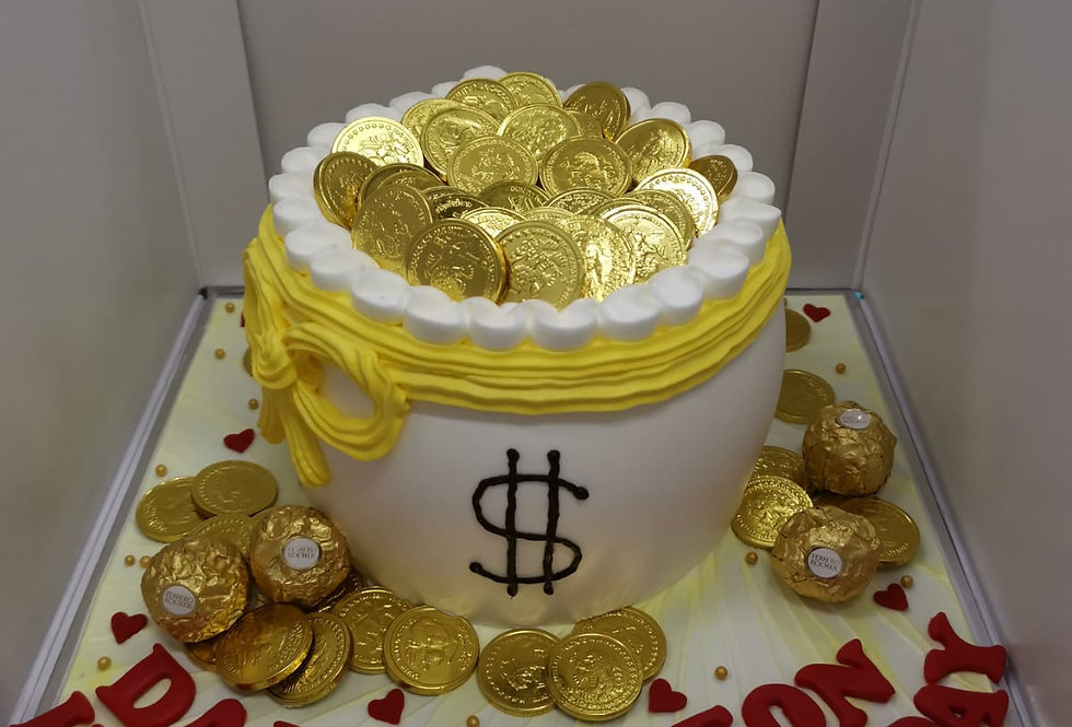 DOLLAR SIGN MONEY PULLING CAKE