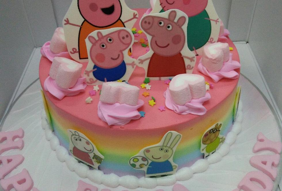 rainbowy peppa cake