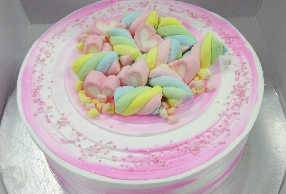 water colour marshmallow cake