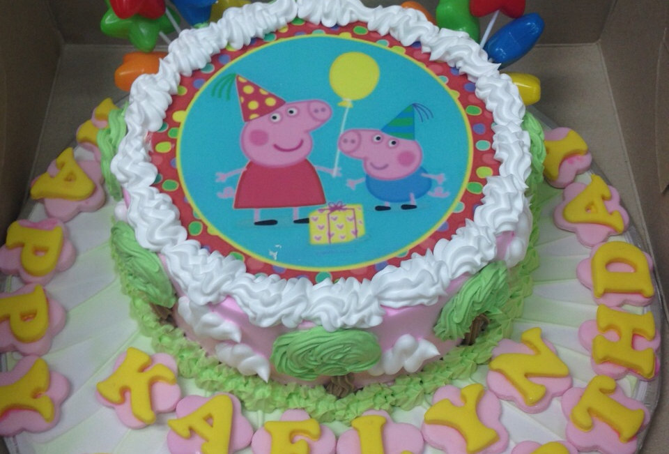 party hat peppa pig cake