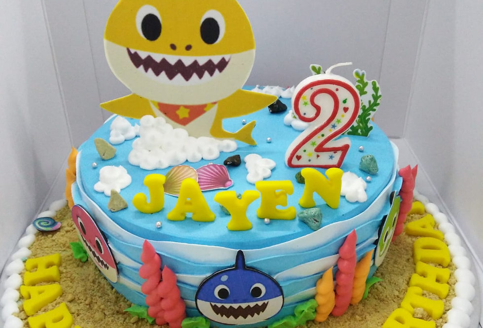 yellow shark with hat cake