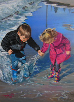 'Wonder and Delight'  $250.00 CND Unframed 12X16 oil painting on stretched canvas Children are filled with love,innocence and laughter. Nothing says pure joy like a good jump into a puddle. Matthew 19:14
