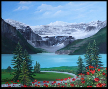 """'It is Well"""" $580.00 Framed  20X24 oil on canvas framed in black on black  Lake Louise Alberta as she looked years ago . The poopy garden is gone and there is now an area for guests of the hotel to enjoy the lake view. Psalm 62:5-8"""