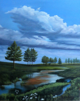 'He Leads Me' $465.00CND Framed in black 16X20 in oil on canvas This artpeice took some time to finish ,very much like me.I am so glad God continues to work in me and on me.My meditation for where he leads me is Psalm 23 .There is amazing comfort in knowing my shepherd knows me and fulfills my every need.