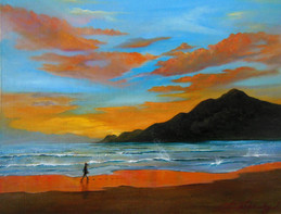 'Never Alone' $325.00 CND unframed Painting the beach located in Santiago MX, I was able to reminisce about my own walks along the shore. Time spent in prayer and contemplation. Psalm 119:133
