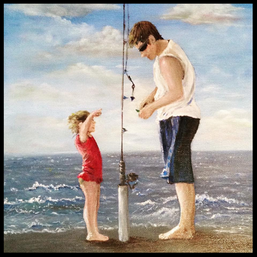 """'Fishing Lesson"""" $110.00CND unframed 8X10 oil on gallery wrapped canvas Walking along the beach in Hilton Head South Carolina, I witnessed this little one learning the ropes of surf fishing."""