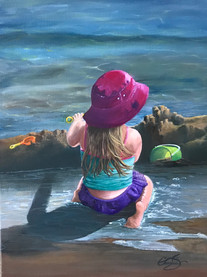 Beach Day $250 CND unframed 12x16 oil on canvas September and fall are here but I'm still in my mind at the beach as I finish this little girl at play. As she enjoys her architectural masterpiece it made me reflect on working with my own hands and doing so to the best of my ability.(photo inspiration by S.Nickel, used with permission) 'Whatever you do, work heartily, as for the Lord and not for men' Colossians 3:23