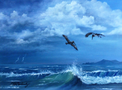 'ThePursuit' $300.00 CND Framed 12x16 oil on canvas  Recently I was on a trip to Mexico and couldn't seem to get enough of watching the pelicans in flight.Their endless pursuit for food was facinating. Reminding me of how wonderful God is in the ways He pursues us. The storm in the distance is a visual of how even though there may be events in our lives out of our control He is always in control.