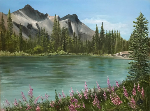 """Fireweed along the River"""" 18 inchesX24inches oil on gallery wrapped canvas . $555.00 CND The beauty of the mountains are spectacular in Canmore Alberta , the Bow river flows cool and swift  but the showstopper is those fireweed flowers. A perennial that finds its way into diverse locations especially after disturbances such as fire , landslides etc… It's a symbol of Hope, Determination and Survival. A timely reminder of endurance especially in light of what the world has gone through many changes over the last 15 months. As I painted I felt peace and hope for our future.  Psalm 98:8 NIV Let the rivers clap their hands, let the mountains sing together for joy; let them sing before the Lord…."""