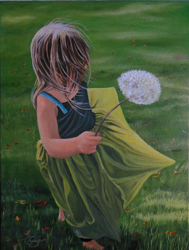 'A Gift From Heaven'   $250.00 CDN unframed 12 X 16 oil on stretched canvas  Painted from a photo  (used with permission: S. Nickel).  The wind in this peice makes me think about how God surrounds us even though we physically can not feel Him or see Him but we are certain of His presence. Romans 1:20