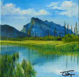 'Rundle in Summer' $60.00 CND unframed 6X6 oil on gallery wrapped canvas.  Painting extends to edges.Mount Rundle is an iconic landmark located in Banff National Park