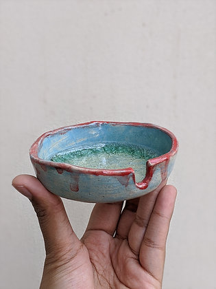 Blue Red Ashtray
