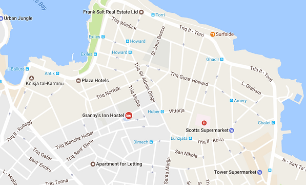 Map of the area around the hostel in Sliema, Malta.