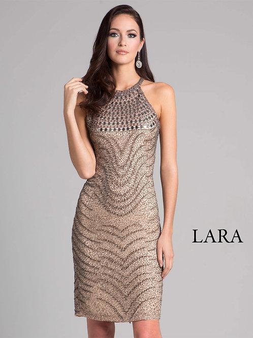 LARA 33411 - Stone Gold halter neck detailed cocktail dress